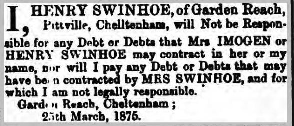 Henry Swinhoe debts